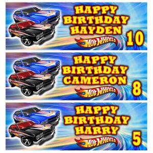 HOT WHEELS Personalised Birthday Banner - Hot Wheels Birthday Party Banner