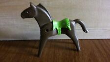 1974 PLAYMOBIL Random Brown Indian HORSE w/Green Blanket Saddle Vintage Figure