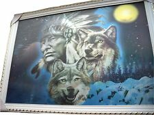 Framed 3 Change Indian Chief & Wolves 3 pictures in one HD picture 35x50cm New