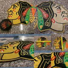 Chicago Blackhawks Leather Hockey Puck Paperweight and Large Patch.