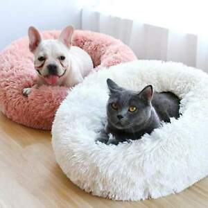 New Luxury Soft Nest Pet Calming Bed For Dogs Cats Faux Fur Anti Anxiety Bed