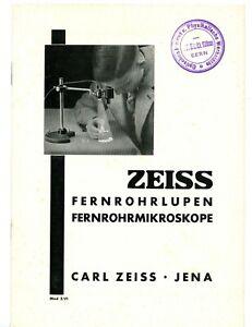 CARL ZEISS JENA Prospekt FERNROHRLUPEN FERNROHRMIKROSKOPE Turmon Tellup Y2801