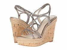Elie Tahari Absinthe Pumice Grey New Skin Women's Cork Wedge Heels Sandals 8.5 M