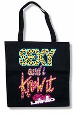 LMFAO Sexy and I Know It Leopard Print Cloth Lightweight Black Tote Bag