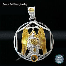 STERLING SILVER 925 ARCHANGEL GABRIEL GOLD PLATED w/ 2 CITRINES PENDANT JEWELRY