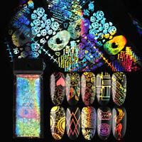 Holografisch Nagel Folien Aufkleber Sparkling Nail Art Transfer Stickers Decals