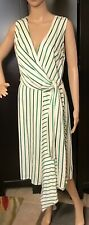 Halogen Womens Size Small Green White Stripe Dress