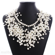 Luxury Women Pearls Charm Bridal Necklace Chunky Pendant Bib Statement Jewelry