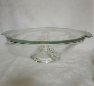 Glass Crystal Cake Stand Frosted Flower Handles