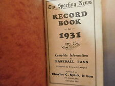 1931 The Sporting News Record Book with non original covers