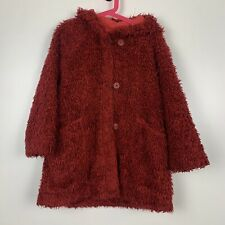 MARESE GIRLS RED HOODED LONG SLEEVE FULL ZIP BUTTON UP TEDDY BEAR COAT AGE 6YRS