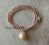 3-3.5 mm Lavendel Süßwasser perle & Edison Barock Perle Halskette Anhänger