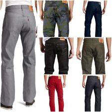 Levis 501 Jeans Mens Original Button Fly Shrink To Fit Denim Dark Blue Black Red