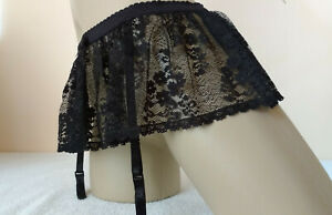 Sexy Black Lace Skirted Suspender Garter Belt UK 8 XS  4 Strap