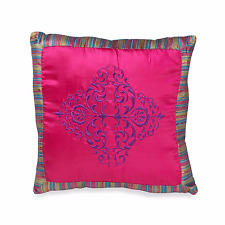 Kamille 18-Inch Square Throw Pillow Hot Pink and Striped Medallion