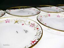 HOLIDAY CHEER PLATES SET OF 7 Pfaltzgraff Glass Dishes Painted Stars Scrolls