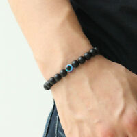 6mm Black Matte Stone Bracelet Evil eye Polish Stone Beaded Bracelet Amulet Men
