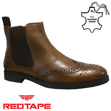 MENS RED TAPE LEATHER CHELSEA DEALER MILITARY COWBOY BROGUE ANKLE BOOTS SIZE