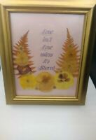Dried Flowers& Leaves w/ a Love Quote in a Gold Picture Frame 13 x10.75""
