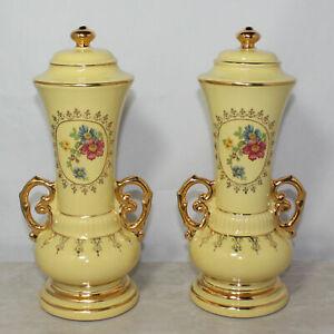 "Two Yellow Antique Decorative Urn Vase Amphora Home Decor, 11"" Tall, No Box"