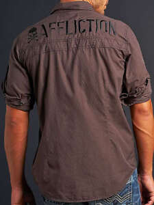 Affliction POWER TRAIN Button Down Shirt XL NWT Pinstripe Woven