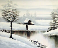 Winter Snow Home Cabin Pond Frozen White Landscape 20X24 Oil Painting  STRETCHED