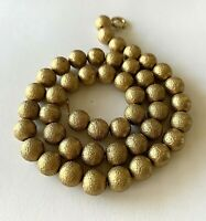 ART DECO HEAVY GOLD FILLED TEXTURED BEAD BALLS NECKLACE ON GF CHAIN 16""
