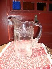 LOVELY LARGE VINTAGE DECORATED GLASS PITCHER...WWF OR WMF?