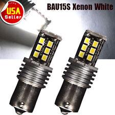 2x White BAU15S 1156PY High Power 15W LED Tail Brake Stop Turn Signal Light Bulb