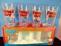 Family guy Christmas Pint Glass's Set 4PK  Brand New in Box.
