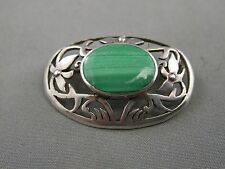 Sterling Silver Malachite Brooch Pin Pierced Frame Floral Classic Beauty 925