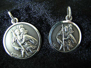 TWO ST CHRISTOPHER NECKLACES - FATHER AND SON SET - STERLING SILVER 925 - BOXED