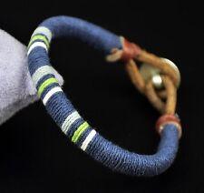 Cool Surfer Cotton Wrap Leather Men's Leather Wristband Bracelet CuffBlue Dk