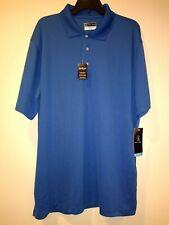 PGA TOUR Men's Golf Performance Short Sleeve Solid Mesh Blue Polo Shirt BNWT