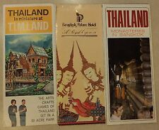 3 VINTAGE THAILAND BROCHURES: T.I.M.LAND, BANGKOK MONASTERIES, PALACE HOTEL