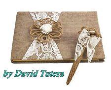 NWT Burlap & Lace GUEST BOOK & PEN by David Tutera Rustic yet Elegant Wedding