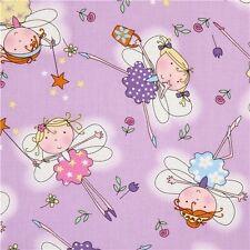 Fairies Flieder Patchworkstoff Stoffe Kinderstoffe Kinder Patchwork Glitter Feen