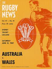 WALES 1969 RUGBY TOUR PROGRAMME v AUSTRALIA 21 Jun SYDNEY