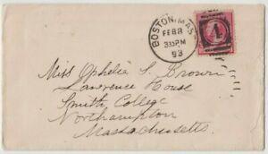 Stamp 1893 USA 2c Washington cover Boston numeral 4 duplex postmark Northampton