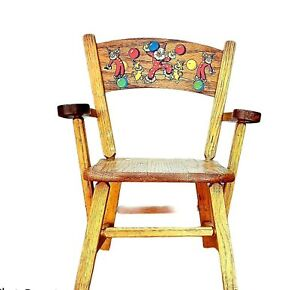 Vintage 1950s Toddler Wood Chair with Hand Painted Clowns, Baby Chair
