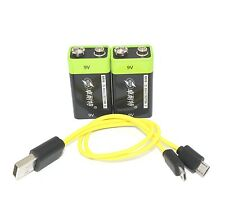 2pcs ZNTER 9V 400mAh lithium li-po li-ion rechargeable battery + micro usb cable