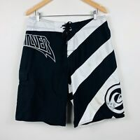 Quiksilver Mens Board Shorts Size 34 Swim Shorts Trunks Black White Skull
