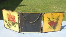 Antique Paul De Longre Signed Tri Fold Roses Floral Vanity Mirror Victorian Age