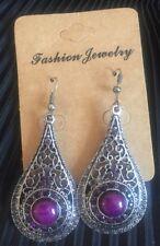 """Handmade"" Drop Pierce Earring Dangle Beautiful Purple Lucite Crystal hook"