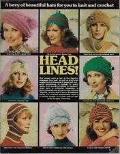 Headlines HATS vintage knitting pattern magazine pullout turban balaclava beret