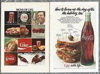 1978 COCA-COLA advertisements x2, bottle, button etc, 2 Coke ads