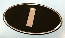 ITALY 'I' Oval 100mm Sticker/Decal - Retro - CHROME on BLACK- GLOSS DOMED GEL