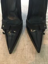 Prada Sz 39 1/2 Black Leather Pointed Toe Pumps
