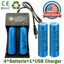 4X 3.7V Li-ion Lithium Rechargeable 18650Batteries + 1X USB Charger UltraFire US