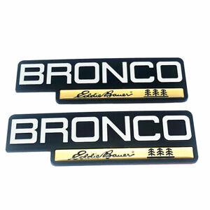 2pc NEW 92 93 94 95 96 Ford Bronco Eddie Bauer Fender Emblem Nameplate Badge OEM